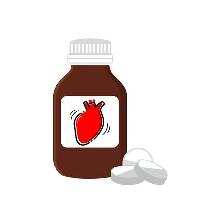 Medicine for the heart. Healthy heart. Vector illustration isolated on white.