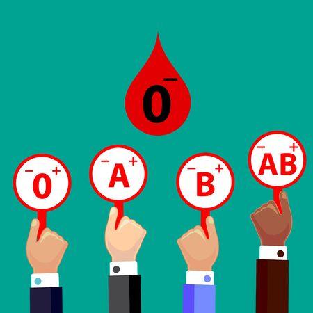 Blood Compatibility Donation. Blood 0 negative. Flat Design Vector Illustration.