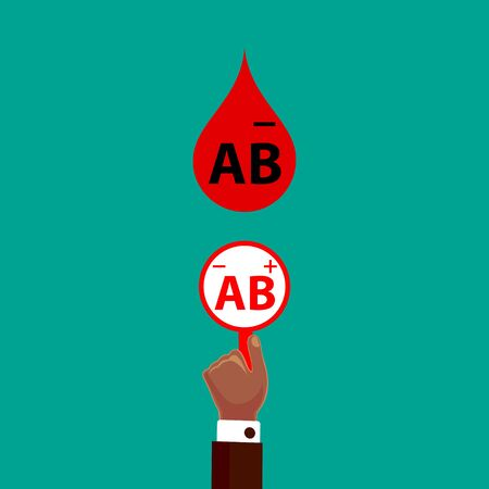 Blood Compatibility Donation. Blood AB negative. Flat Design Vector Illustration.