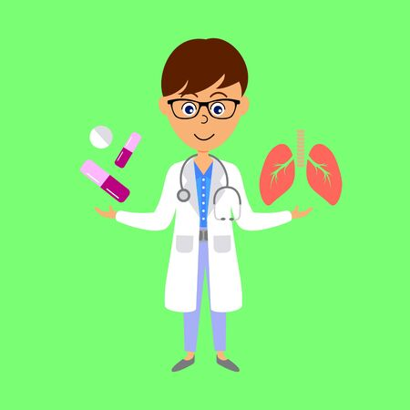 Cartoon doctor,  lungs and medicine. Healthcare concept. Flat vector illustration.