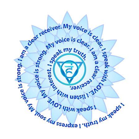Vishuddha-Chakra-Bestätigung. Flache Designvektorillustration lokalisiert auf weißem Hintergrund. Vektorgrafik