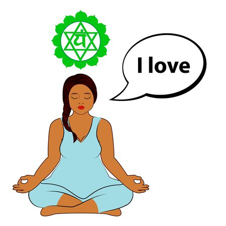 Meditating woman. I love - affirmation for chakra Anahata. Vector illustration isolated on white background.