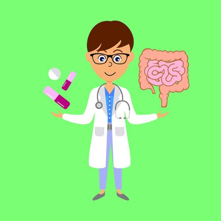 Cartoon doctor,  large and small intestines and medicine. Healthcare concept. Flat vector illustration.  イラスト・ベクター素材