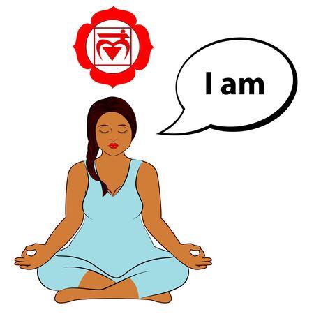 Meditating woman. I am - affirmation for chakra Muladhara. Vector illustration isolated on white background.