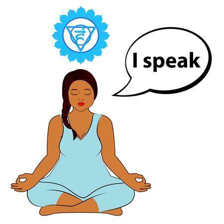 Meditating woman. I speak - affirmation for chakra Vishuddha. Vector illustration isolated on white background. Ilustração