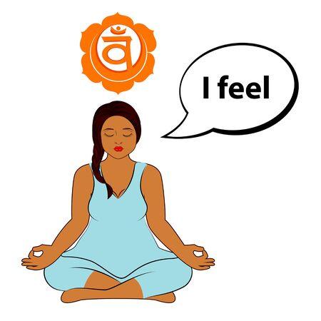 Meditating woman. I feel - affirmation for chakra Swadhisthana. Vector illustration isolated on white background.