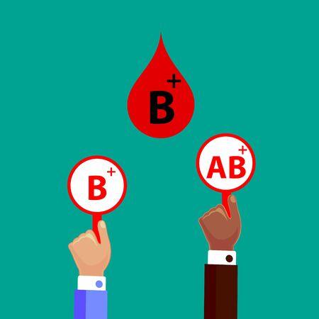 Blood Compatibility Donation. Blood B positive. Flat Design Vector Illustration.