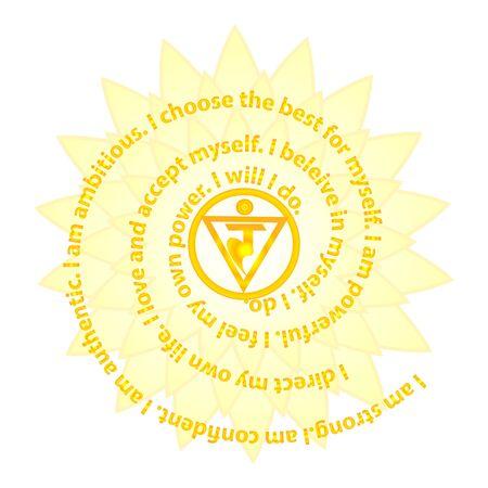 Manipura chakra affirmation. Flat design vector illustration isolated on white background. Ilustração