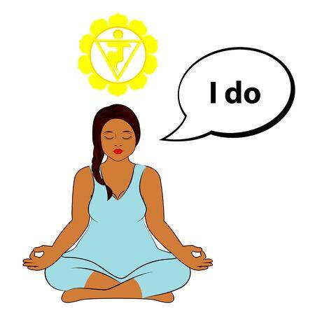 Meditating woman. I do - affirmation for chakra Manipura. Vector illustration isolated on white background. Ilustração