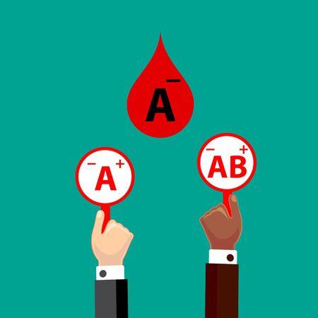 Blood Compatibility Donation. Blood A negative. Flat Design Vector Illustration.