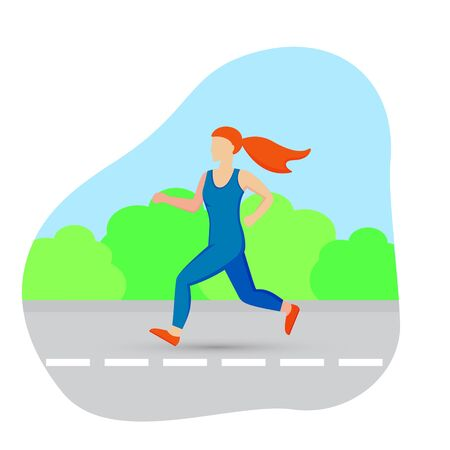 Woman runner outside jogging in park. Vector flat illustration.