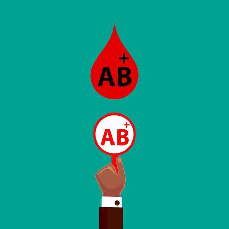 Blood Compatibility Donation. Blood AB positive. Flat Design Vector Illustration.