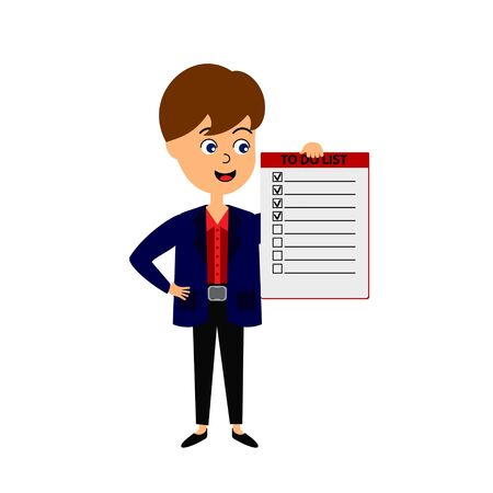Businessman holding to do list  Vector illustration flat design. Isolated on white background.