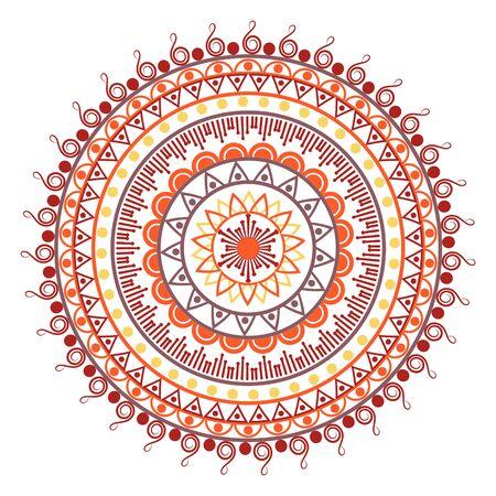 Beautiful Indian ornament, mandala pattern. Flat simple design vector illustration isolated on white background. Illustration