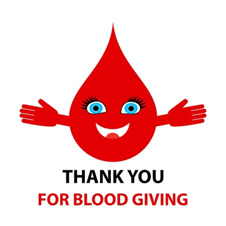 Thank you for blood giving - text. Blood donation abstract concept vector illustration.
