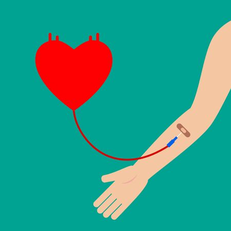 Blood donation abstract concept. Patient receiving blood. Flat design simple vector illustration.