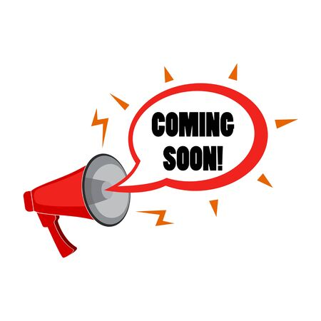 Megaphone and speech bubble with text - Coming soon, simple flat vector  illustration isolated on white background