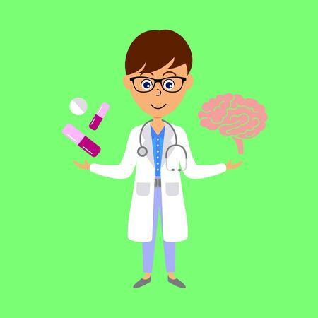 Cartoon doctor,  brain and medicine. Healthcare concept. Flat vector illustration.