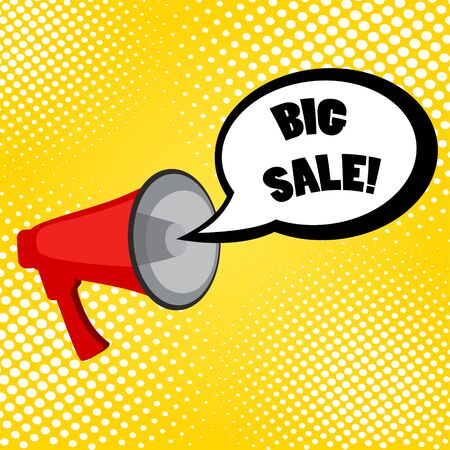 Megaphone and speech bubble with text - Big sale, simple flat vector  illustration  on yellow background