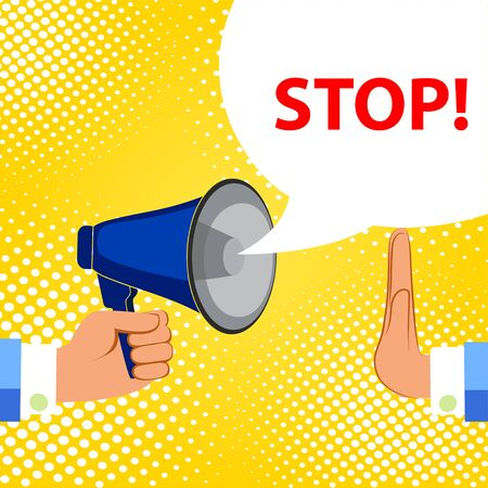 Megaphone and speech bubble with text - STOP, simple flat vector  illustration. Stock Illustratie