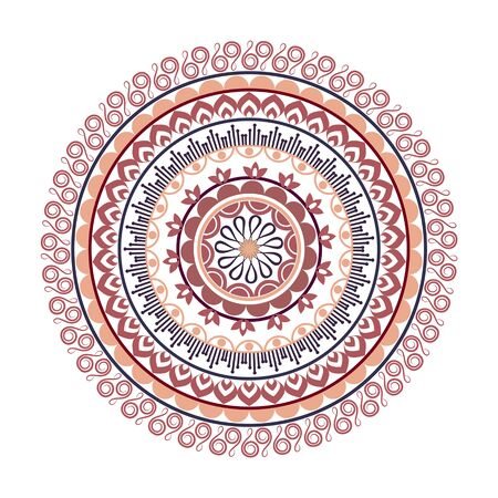 Beautiful Indian ornament, mandala pattern. Flat simple design vector illustration isolated on white background. Ilustração
