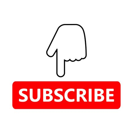 Red button subscribe and hand cursor. Vlogging, blogging, streaming. Flat simple vector illustration. 일러스트