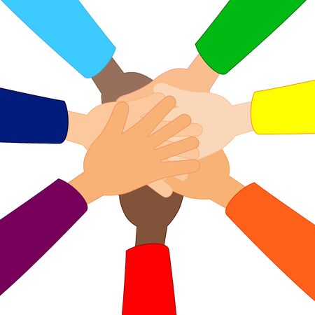 People putting their hands together flat vector illustration isolated on white background