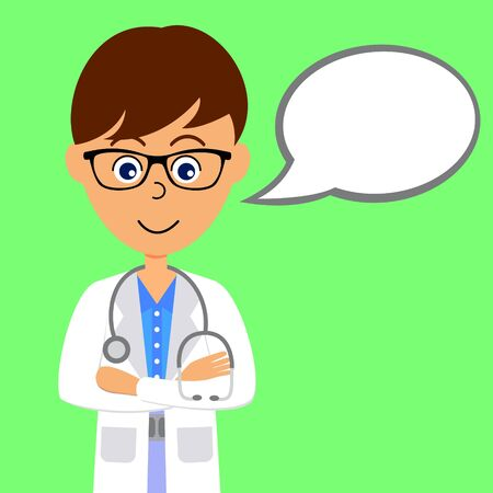 Cartoon character doctor with speech bubble. Healthcare concept. Flat vector illustration.