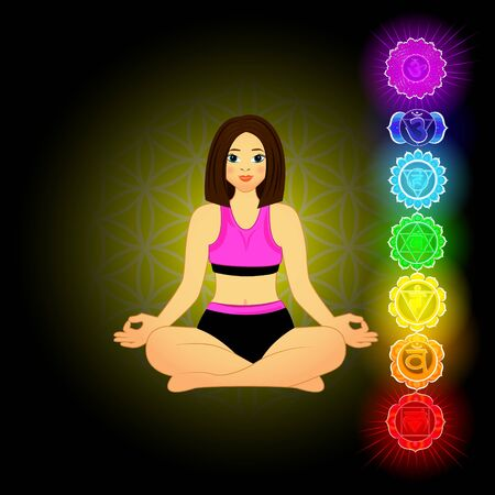 Vector illustration of beautiful woman doing yoga.