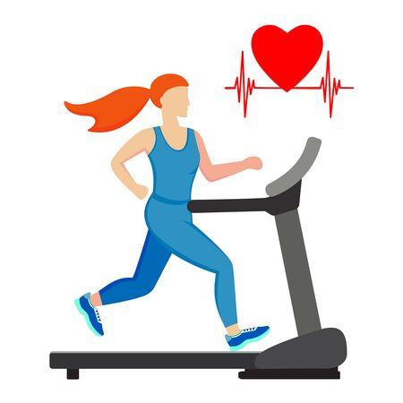 Young woman running on a treadmill isolated on white background. Cardio training. Vector illustration.  Ilustração