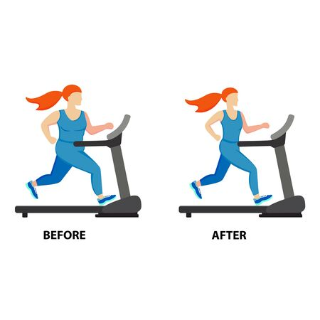 Illustration of a cartoon girl jogging, weight loss concept, before and after. Vector illustration. Ilustracje wektorowe