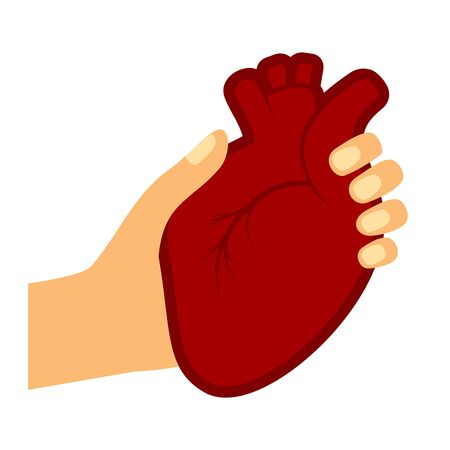 Woman hand holding human heart vector illustration.