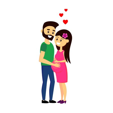 Lovely couple waiting for the baby. Happy cartoon characters of man and pregnant woman. Vector illustration. Ilustração