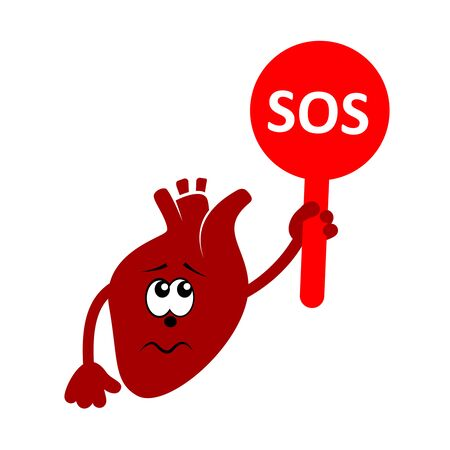 Cartoon character of sad and unhappy heart holding plate with word SOS. Heart disease. Vector icon isolated on white. Ilustração