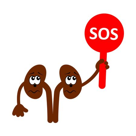 Cartoon character of sad and unhappy kidneys holding plate with word SOS. Kidneys diseases. Vector icon isolated on white.