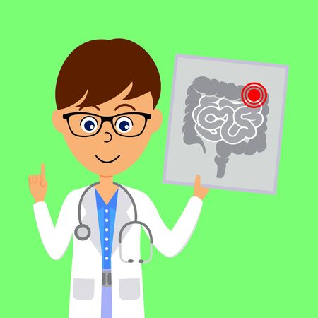 Cartoon male doctor character showing image of unhealthy  large and small intestines. Healthcare concept. Flat vector illustration. Illustration