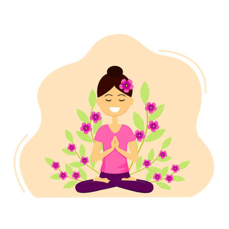 Vector illustration of beautiful woman character doing yoga. Young lady with welcome gesture of hands. Namaste mudra.