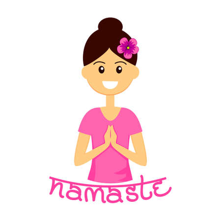 Smiling woman character with welcome gesture of hands. Namaste mudra vector illustration. Illustration