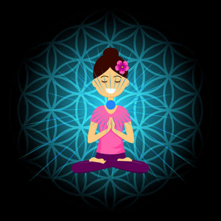 Cartoon character smiling woman is sitting in lotus position with namaste hands. Vishuddha chakra activation. Vector illustration.