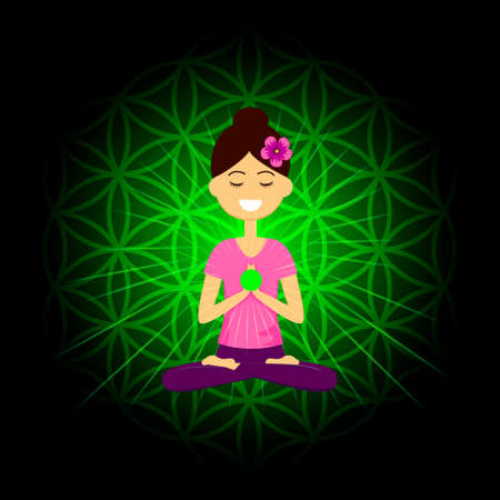 Cartoon character smiling woman is sitting in lotus position with namaste hands. Anahata chakra activation. Vector illustration.