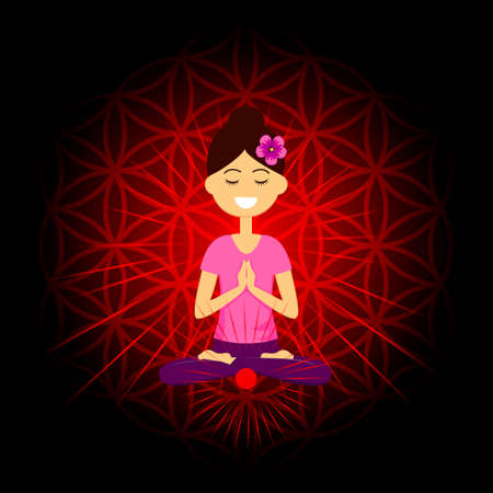 Cartoon character smiling woman is sitting in lotus position with namaste hands. Muladhara chakra activation. Vector illustration.