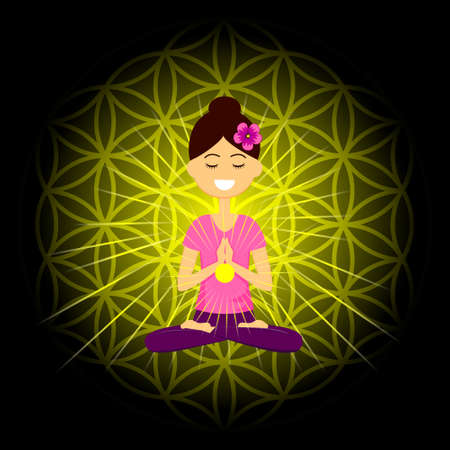 Cartoon character smiling woman is sitting in lotus position with namaste hands. Manipura  chakra activation. Vector illustration.