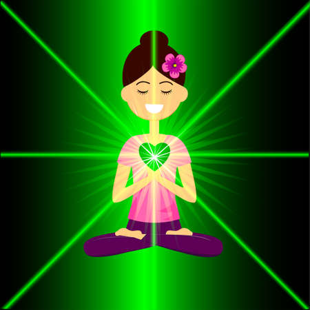 Heart chakra activation concept. Cartoon characte smiling woman is sitting in lotus pose with namaste hands. Vector illustration. Illustration