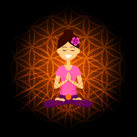 Cartoon character smiling woman is sitting in lotus position with namaste hands. Swadhisthana  chakra activation. Vector illustration.