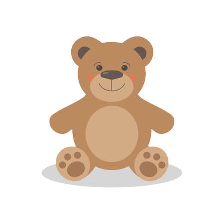Cute toy bear isolated on white background. Vector illustration
