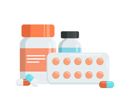 Medicine bottle with pills, capsules, blister with pills, bottle with liquid. Flat vector illustration