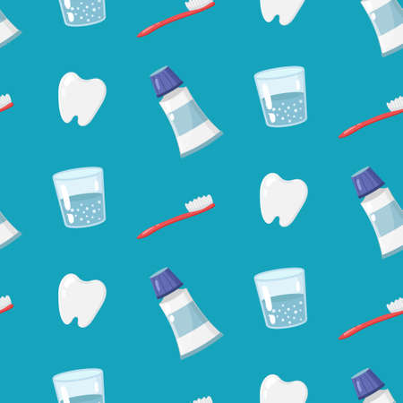 Seamless pattern with a tooth, a glass of water, toothbrush, and toothpaste. Vector illustration