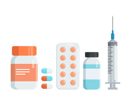 Set of drugs. Pharmacy. Medicine bottle with pills, capsules, blister with pills, bottle with liquid, syringe. Flat vector illustration Ilustracja