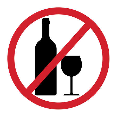No alcohol sign isolated on white background. Vector illustration