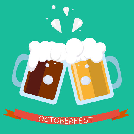 toasting: Cool modern flat design icon on clink beer mugs Minimalistic web icon on celebration with beer colliding and spilling out with foam Illustration